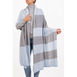 Stole Bicolor Medium Gray Blue Marenza Cashmere