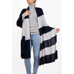 Mixed Cashmere Bicolor Stole Blue pearl gray Marenza