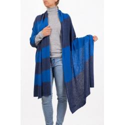 Stole Cashmere Stole Bicolor Blue midnight bluette Marenza