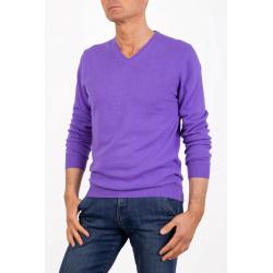 Sweater V Neck Men Cashmere Violet