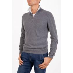 Men's half zip sweater Cashmere Marenza Bicolor Pearl