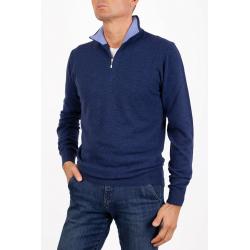 Men's half zip sweater Cashmere Marenza Bicolor blu midnight